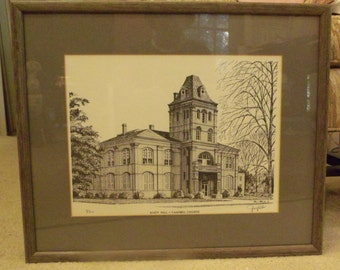 Campbell College K. Hall Pen and Ink Art