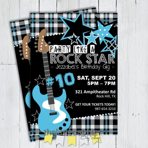 Printable Party Like a Rock Star Birthday or Baby Shower