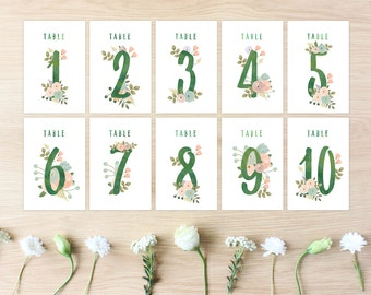 "Printable Table Numbers, DIY Wedding Table Signs, 1–10, Boho Floral Botanical, Instant Download, 4"" x 6,"" Peachy"