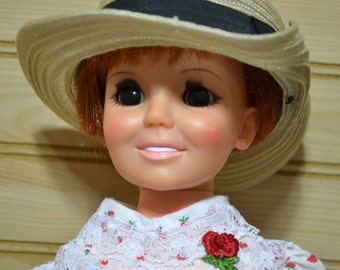 Vintage Ideal Crissy Doll Toy 1960s Strawberry Dress Straw Hat Button Shoes Socks Missing Growing Hair