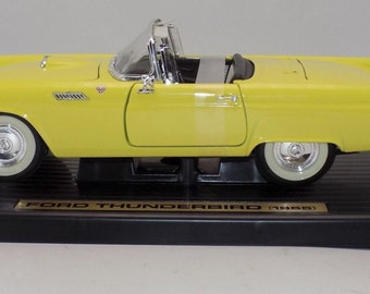 1955 Ford Thunderbird 1/18 diecast car metal car model car toy car antique car vintage car cars diecasts Yellow White Christmas present gift
