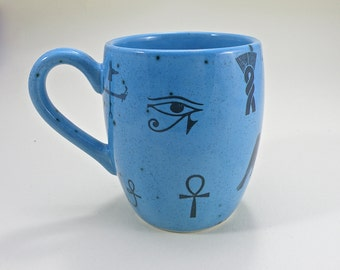egyptian Mug Tea mug coffee mug beer mug Food safe Lead free Glaze hieroglyph   MADE TO ORDER