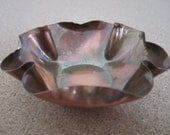Solid Copper Bowl made in U.S.A - Vintage Patina with Original Label and Fluted or Scalloped Edge