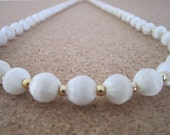 Vintage Silk Bead Necklace - Winter White Color - Retro Jewelry - Use, Upcycyle or Recycle