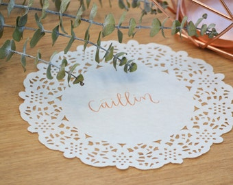Wedding Place Card / Seating Card / Name Card - Hand Lettered, Handwritten Calligraphy, Doily