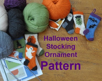 Halloween Christmas Stocking Ornament Pattern Set of 6 Designs to Knit  Ghost  Bats  Pumpkin  Witch Hat  Frank  Mummy