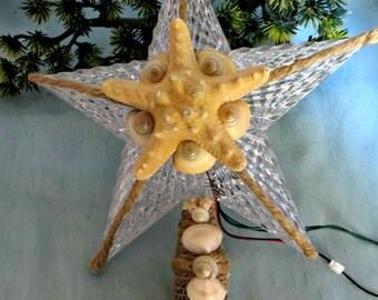 Coastal Christmas tree topper with seashells and starfish