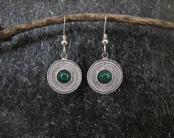 Malachite earrings,Silver Filigree earrings,Silver earrings, Filigree earrings, Israel jewelry, Ethnic earrings,Malachite silver earrings