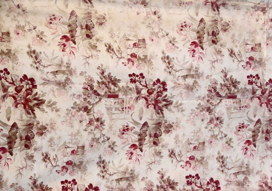 Antique Fabric French Chinoiserie Toile Decorator Fabric Pink
