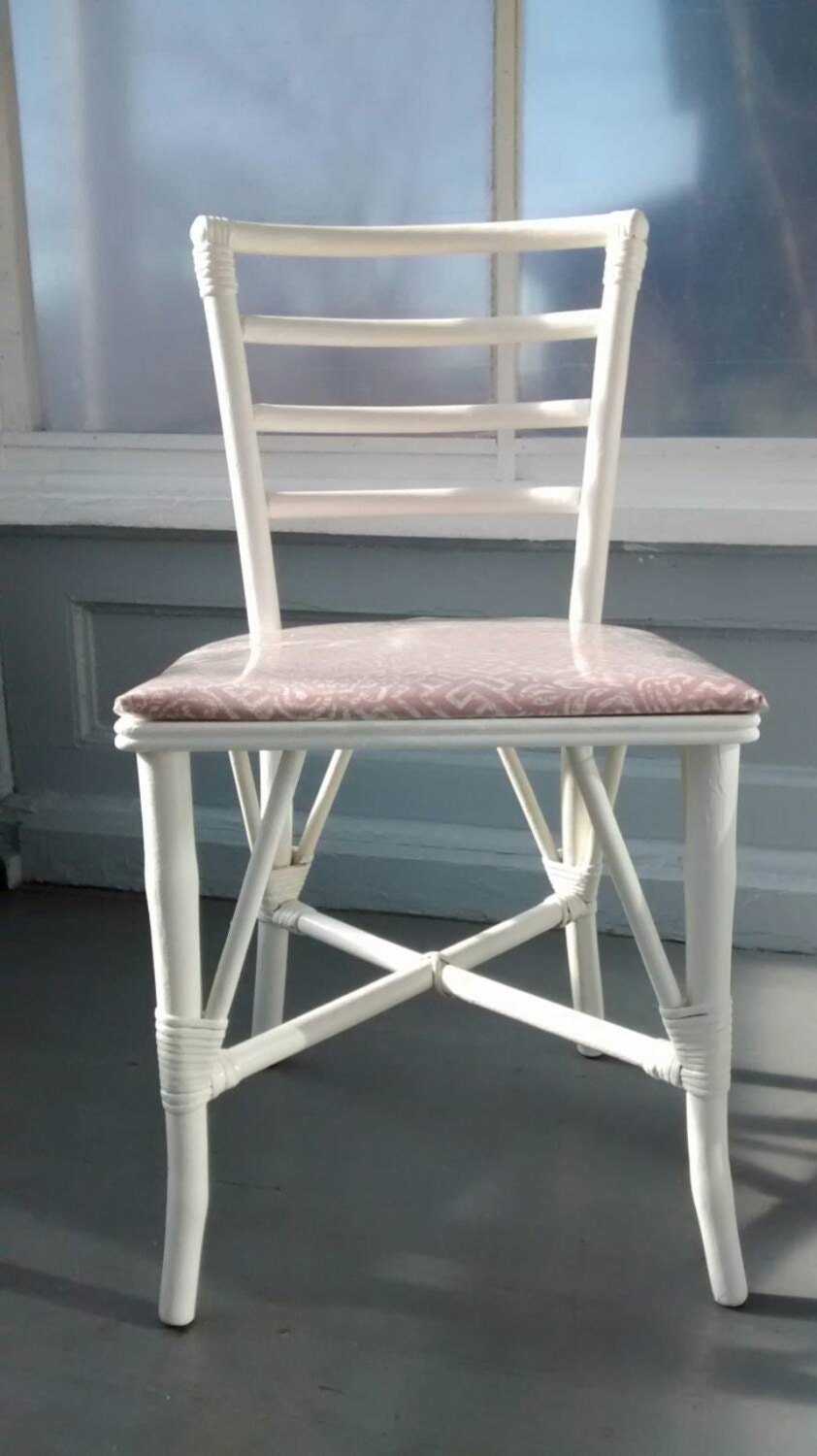 Vintage chairs kitchen dining ladder back bent wood for White wood upholstered dining chairs