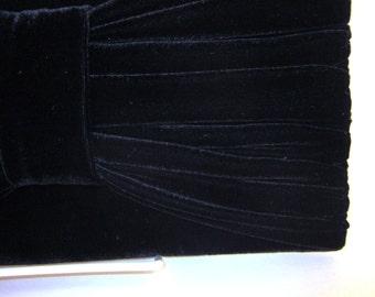 Black Velvet Clutch Purse with Bow Detail