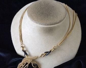 Vintage Long Multi Stranded Goldtone & Black Enameled Chain Necklace