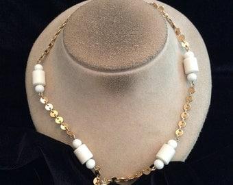 Vintage Long Goldtone & White Beaded Necklace