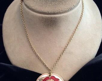 Vintage Long Signed Cloisart Enameled Rose Pendant Necklace