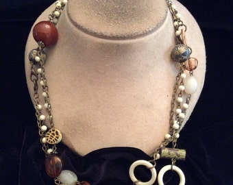 Vintage Long Brown White Beaded Necklace