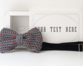 Polka dot crochet bow tie. Handmade personalized cardboard box. Customizable box.