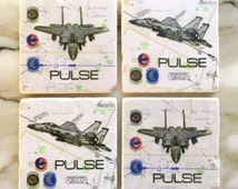 Custom Flight Chart Coasters featuring your JET, CALLSIGN & SQUADRON patches