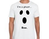 White Unisex Ghost Tshirt Easy Halloween Costume Graphic Shirt Screen Printed Tee Shirt Teens Juniors Men Women