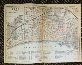 1902 Nice Vintage Map [7.9 x 5.8 in.]  French Riviera Map