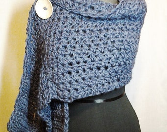 Textured Crochet Blue Shawl or Wrap with Natural Wood Button