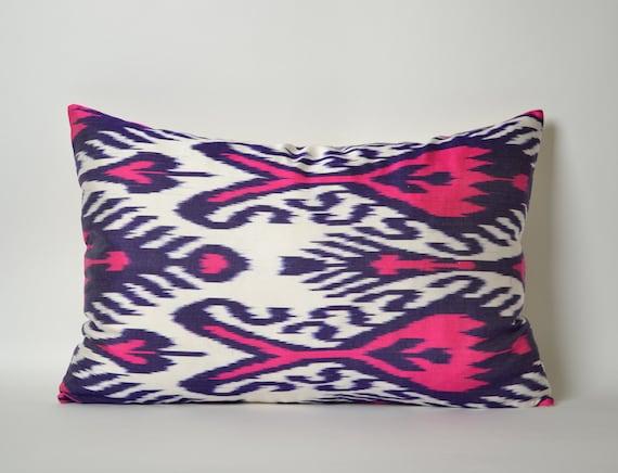 Neon Blue Throw Pillows : Neon Pink Navy Blue White Silk Ikat Pillow Cover Pink Ikat