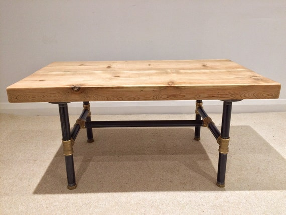 Reclaimed victorian pine beam coffee table with by for Coffee tables 80cm wide