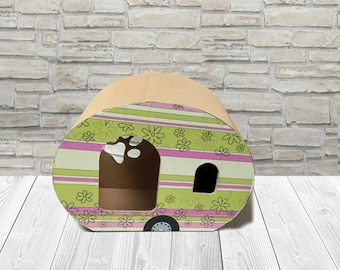 Natural Pet house, Lili Roulotte, pet furniture cardboard Cat house, miniature car cat bed, cardboard, bed for cat eco friendly cat house