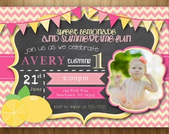 Sweet Lemonade PRINTABLE Birthday Invitation Summertime Fun Pink Yellow Green Photo Picture Card
