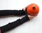 Minimalistische Armstulpen, schwarze, schlichte, Pulswärmer, lang, ohne Bund und Daumenloch, 100% Merino, hautfreundlich, sehr weich