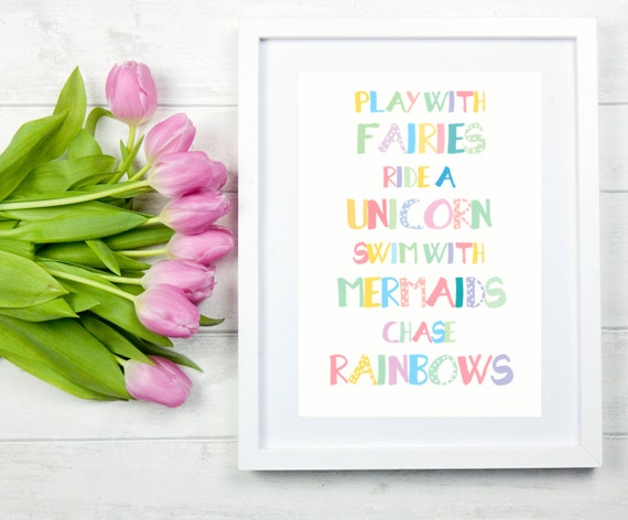 Fairies Print Unicorn Print Fairy Quotes Unicorn Quote