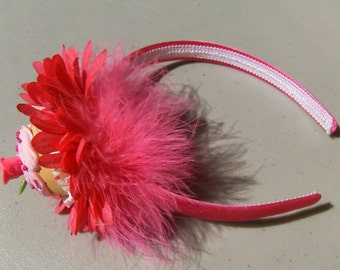 Cupcake Headband Hot Pink Rose And Feather Fake Pink Frosting
