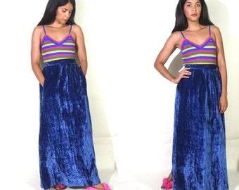 Vintage 60s 70s Crushed Blue Velvet High Waist Maxi Skirt Hippie