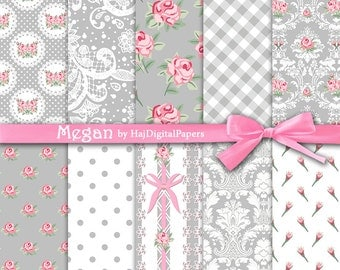 "Shabby chic digital paper : ""Megan"" grey and pink digital paper in shabby chic style, rose digital paper, floral digital paper, pink roses"