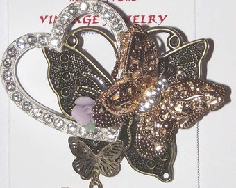 Bug / Butterfly Theme. 1-of-a-Kind collage brooch / pendant, made from recycled vintage jewelry. Gold, silver, heart, dangles. #93.