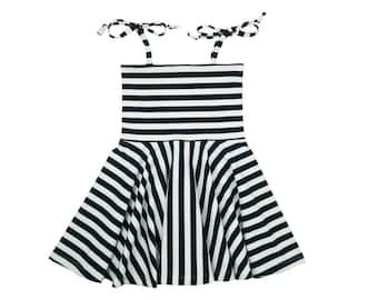 Circle Skirt Dress, Girls Dress, Baby Dress, Toddler Dress, Beach Dress, Summer Dress, Skater Dress, Twirling Dress, Monochrome Stripe Dress