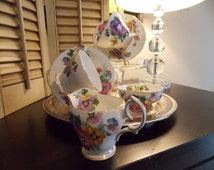 "TEA SET, ""Set of Two"" Queen Anne Bone China Tea Cups and Saucers with Matching Cream and Sugar, ""Spring Melody Pattern"""