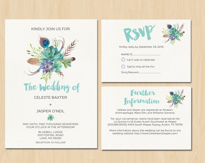 Bohemian Wedding Invitaion - PRINTABLE Invitation // Floral Bouquet // RSVP // Information Card // Full suite or separate purchase