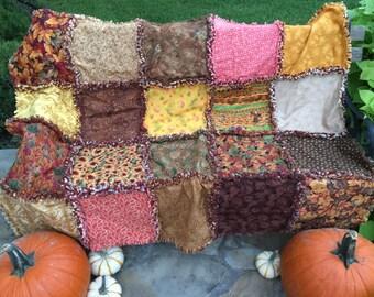 Autumn rag quilt - fall rag quilt - fall leaves rag quilt - Thanksgiving rag quilt - autumn decor - fall decor - Thanksgiving decor
