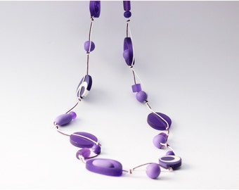 Purple White Resin Bead Necklace Purple White Waxed Cotton