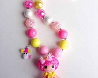 Chunky bead necklace with Lalaloopsy pendant