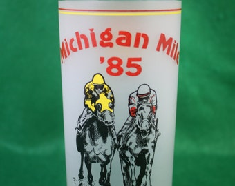 Vintage Scarce 1985 Michigan Mile Souvenir Cocktail / Tumbler Drink Glass First Year DRC  Ladbrokes