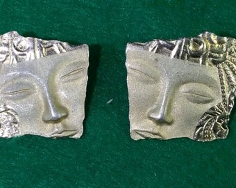 Pair of Vintage Asian Eye Themed Gold Tone Earrings