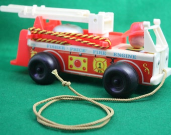 Vintage Fisher Price Wood Aerial Ladder Fire Truck Toy - 1968