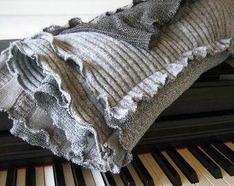 Wool TV Blanket Shades of Grey Upcycled Handmade