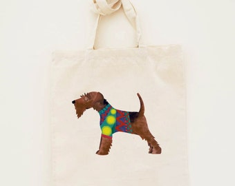 Cotton Tote Bag Welsh Terrier Dog Illustration - Custom Name Personalised Canvas Cotton Tote Bag - Write Any Name