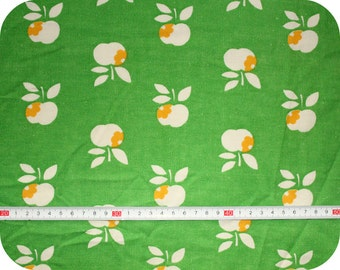 Retro vintage children's fabric with apples - green and yellow