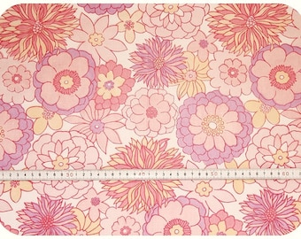 Floral retro vintage fabric - pink, purple, coral and white