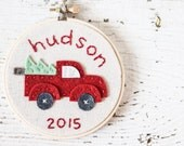 FOR SALLY Christmas Hoop Art / Tree Ornament - Felt and Embroidery - Red pick-up truck with Christmas tree - Personalized with Name