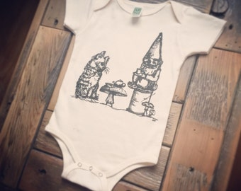 Garden Gnome Baby Clothes, Gome, Cat, Kitty, Tea Party, Infant One Piece, Bodysuit, Babies, Shower Gift, Unisex, Organic Cotton, Handprinted