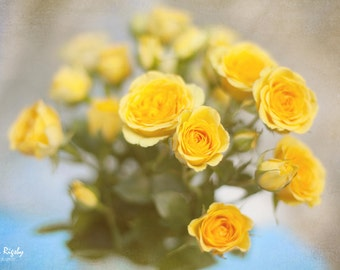 Rustic Floral Photography Yellow Roses Shabby Chic Style Home Decor Cottage  Teal Turquoise Feminine Nursery Large Print Canvas 40x30 30x24